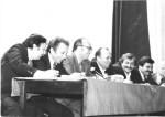 День фізтеха 1980. Прес-конференція викладачів: М.Р.Бєляєв, В.І.Муратов, В.В.Ангелейко, Ю.О.Кірочкін, В.Д.Воловик, С.С.Плохов, В.Д.Ходусов