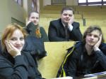 березень 2011 р. Настя Гаєва, Шура Нехаєва, І.Гірка і Юра Лелеко в ауд. 301