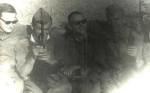 июнь - июль 1969 г. Двумесячные лагерные сборы после четвертого курса, г. Кривой рог. Нас везут в поле на занятия по тактике. Слева направо: Игорь Панкратов, Виктор Абрамович, Андрей Беляев, Леня Ручко