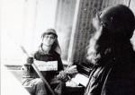 Август 1981. Сцена из ритуала посвящения в стройотрядовцы, г. Новый Уренгой. На снимке – студентки физфака