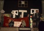 8 грудня 2007 року. 45-й День факультету. Привітання декана І.О.Гірки. На сцені – Костянтин Ачкасов (у фуражці), Юра Ільченко (з бородою)