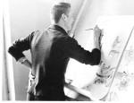 1963 рік. Ю.В.Сидоренко – художник факультетської газети «Електрон»